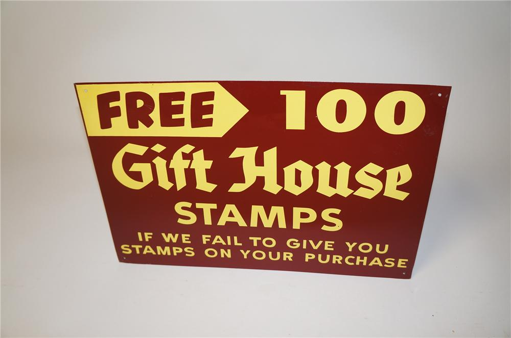 N.O.S. 1950s Gift House Stamps single-sided tin service station sign. - Front 3/4 - 154497
