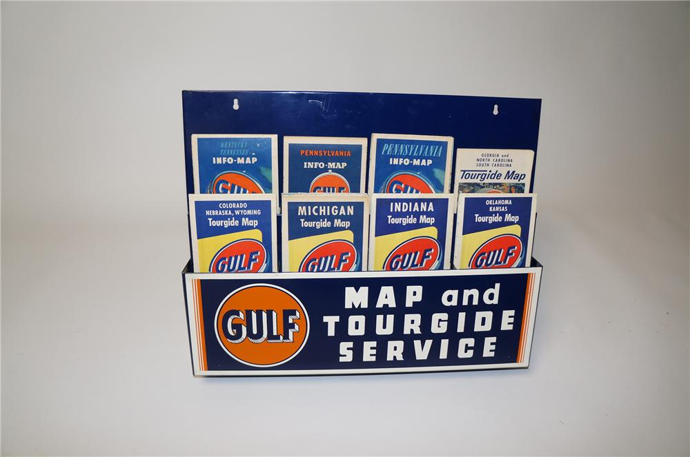 N.O.S. 1940s Gulf Oil Map and Tour guide Service metal station display complete with period maps. - Front 3/4 - 154501