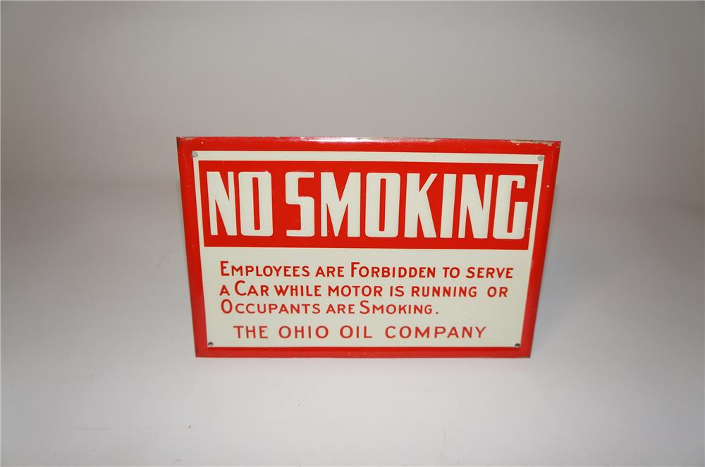 "N.O.S. 1930s Ohio Oil Company ""No Smoking"" fuel island embossed tin sign. - Front 3/4 - 154505"