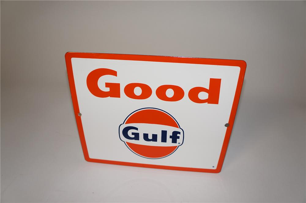 N.O.S. late 1950s Good Gulf Gasoline porcelain pump plate sign.  Found in amazing condition. - Front 3/4 - 154506