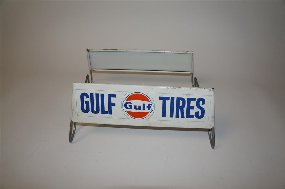 1960s Gulf Tires service station metal tire display. - Front 3/4 - 154510