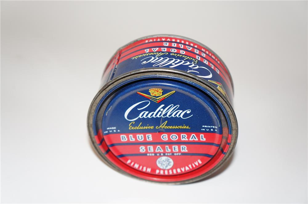 "Wonderful circa 1940s-50s Cadillac Blue Coral Sealer ""Finish Preservative Wax"" metal tin. - Front 3/4 - 154514"