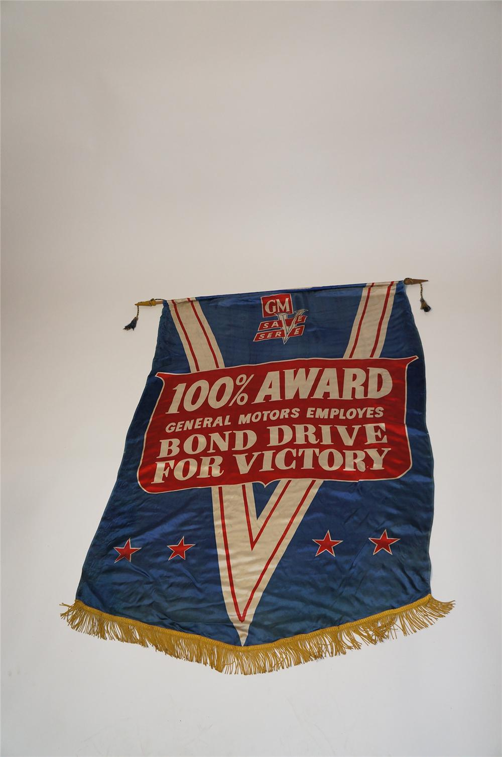 "Rare World War II GM ""Bond Drive For Victory"" silk dealership showroom banner. - Front 3/4 - 154517"