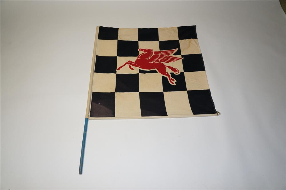 Stellar 1950s Mobil Oil Racing speedway checkered flag with staff. - Front 3/4 - 154518