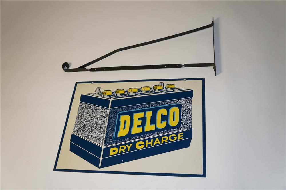 Phenomenal N.O.S. 1950s Delco Dry Charge Batteries double-sided tin garage sign with battery graphic. - Front 3/4 - 154525