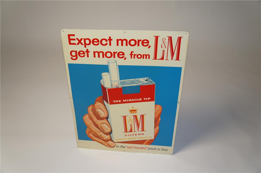 Late 1950s-60s L&M Cigarettes tin sign with hand/ cigarette pack graphic. - Front 3/4 - 154526