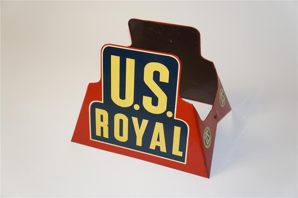 Scarce 1930s U.S. Royal Tires automotive garage die-cut metal tire display stand. - Front 3/4 - 154529