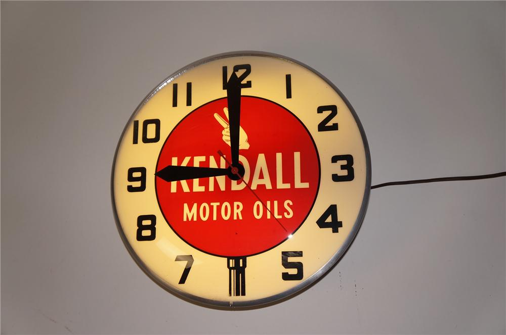 Sharp 1950s Kendall Motor Oils glass faced light-up garage clock.  Lights and works well. - Front 3/4 - 154533