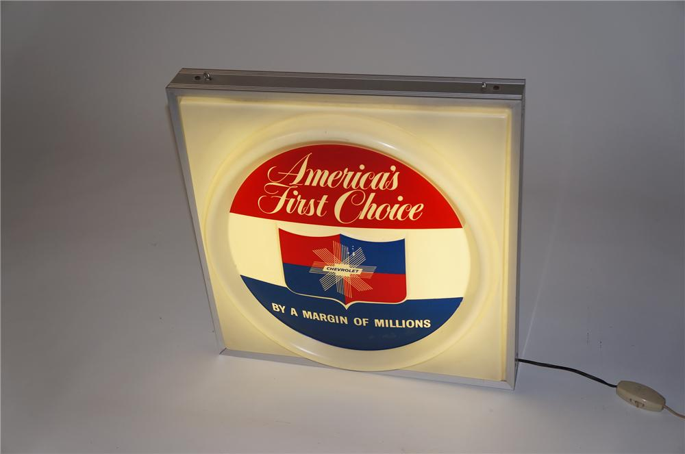 "Very clean late 1950s-early 60s Chevrolet ""Americas First Choice"" singe-sided light-up dealership sign. - Front 3/4 - 154534"