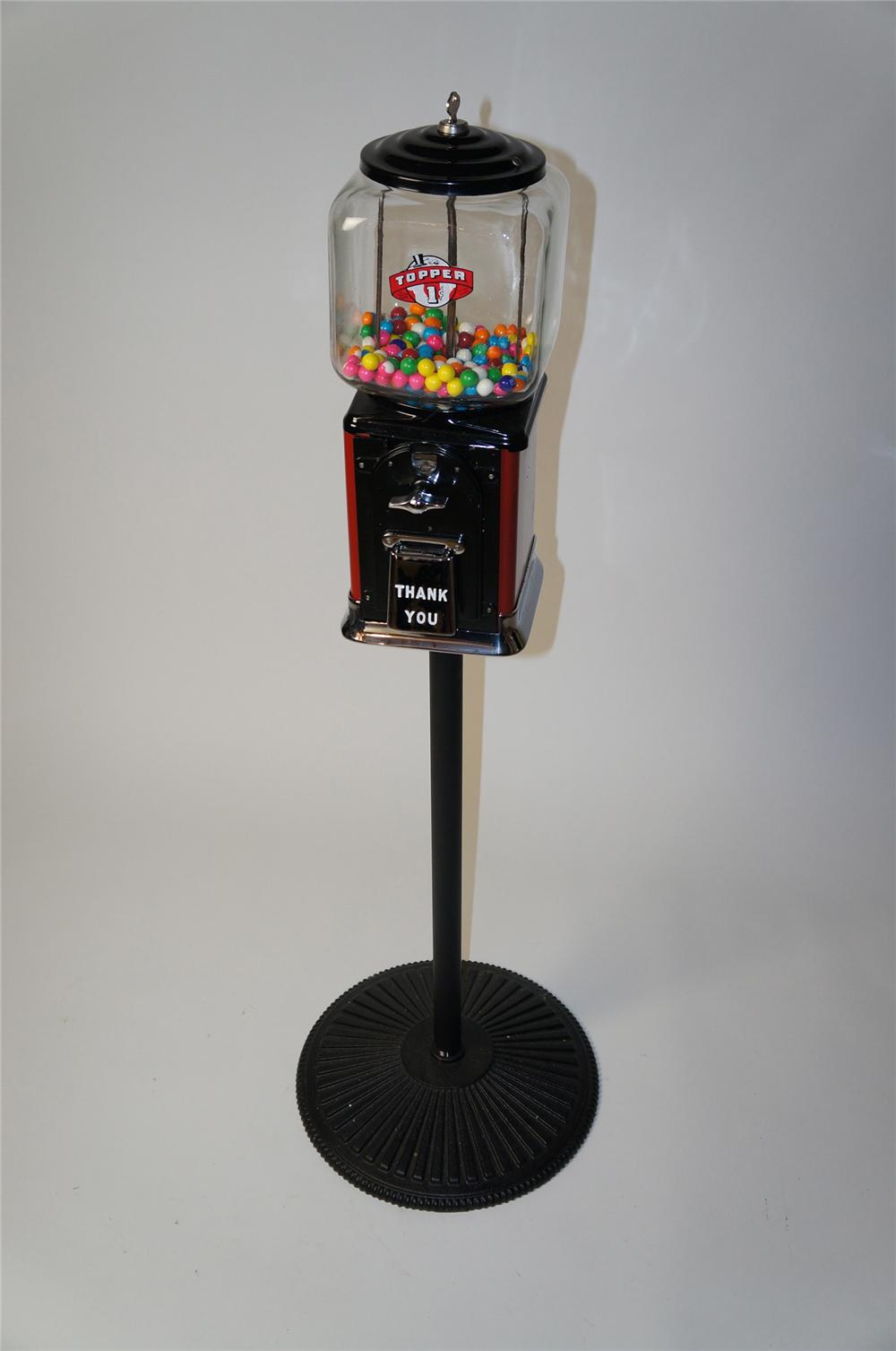 Nicely restored 1950s Topper glass domed one cent gumball machine on stand. - Front 3/4 - 154535