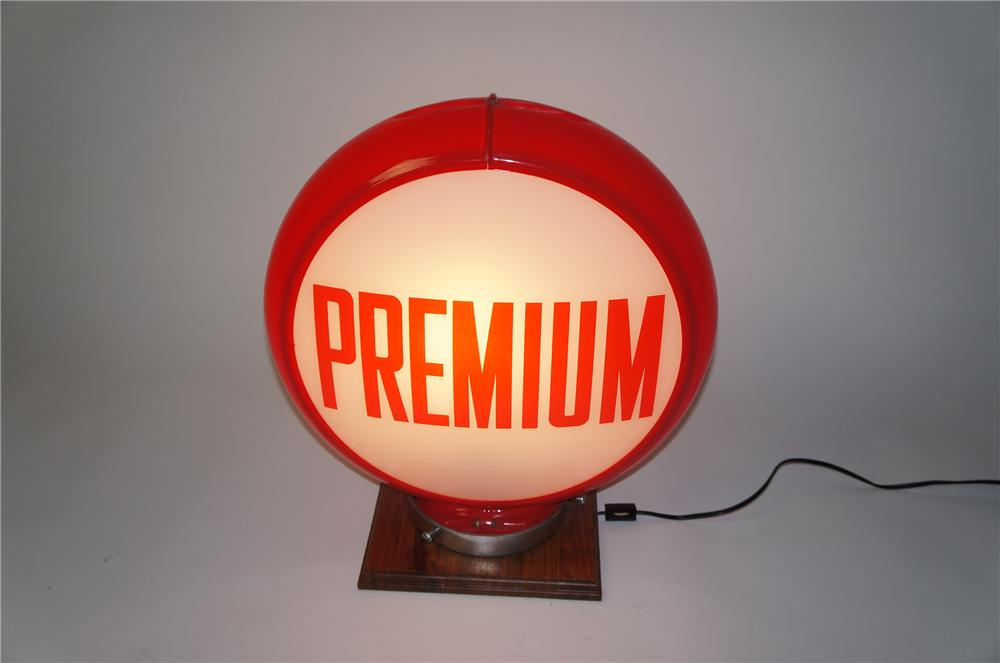 Late 1950s Premium Gasoline glass faced gas pump globe in a Capcolite body. - Front 3/4 - 154536