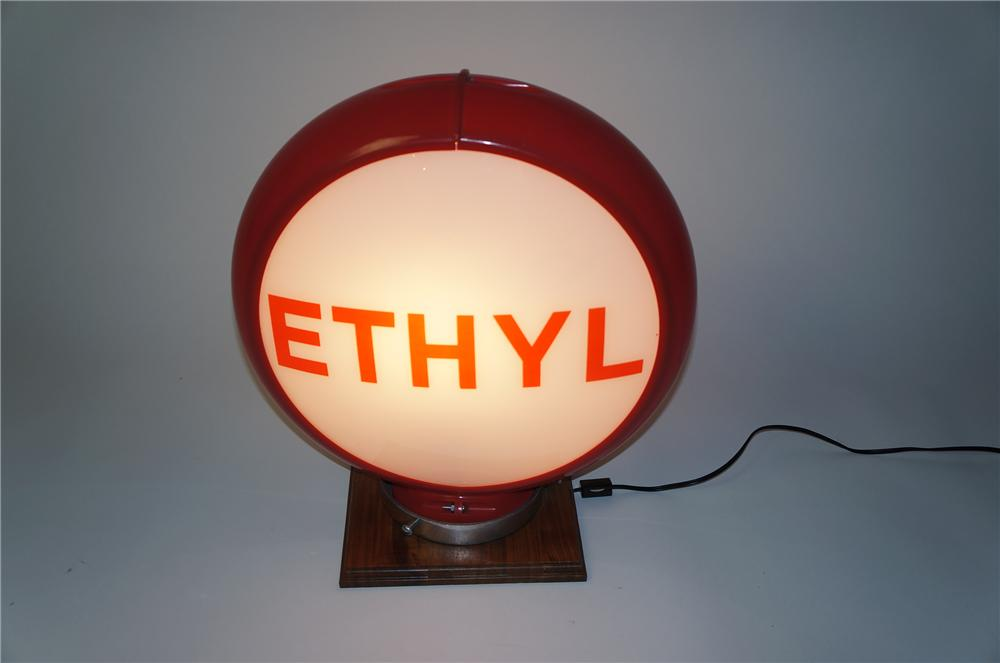 Late 1950s Ethyl Gasoline glass faced gas pump globe in a Capcolite body. - Front 3/4 - 154538