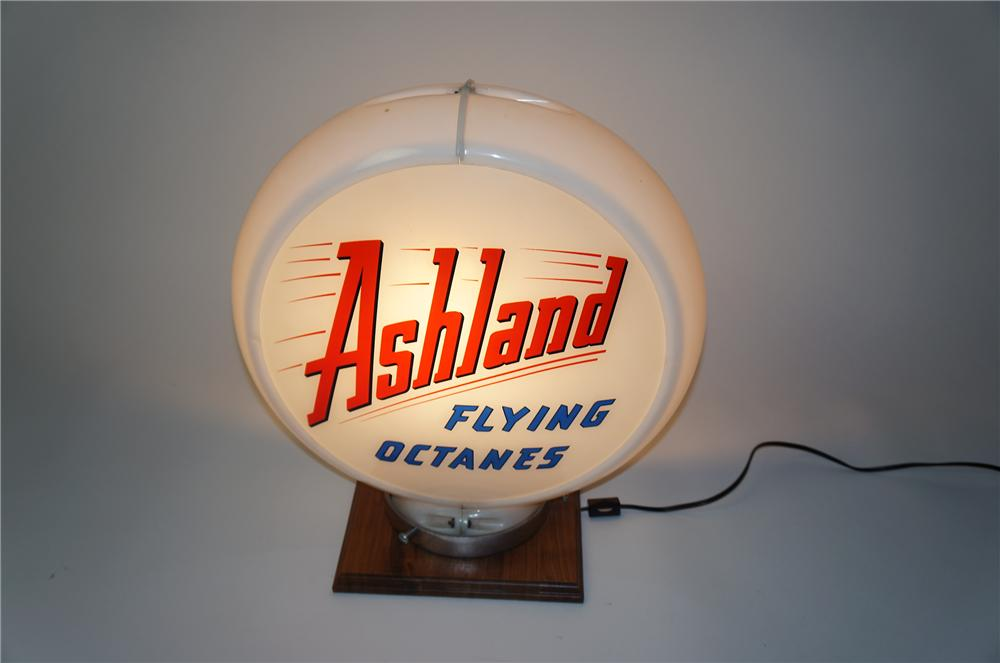Scarce 1950s Ashland Flying Octanes glass faced single lens gas pump globe in a Capcolite body. - Front 3/4 - 154541
