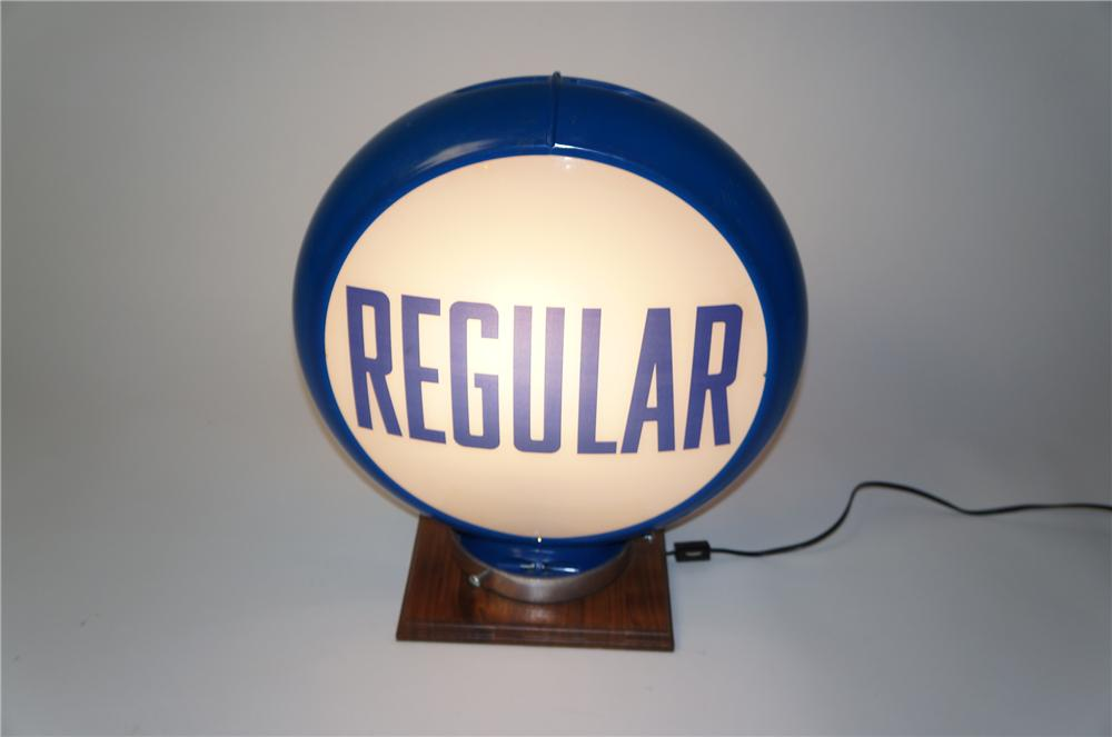 Late 1950s Regular Gasoline glass faced gas pump globe in a Capcolite body. - Front 3/4 - 154542