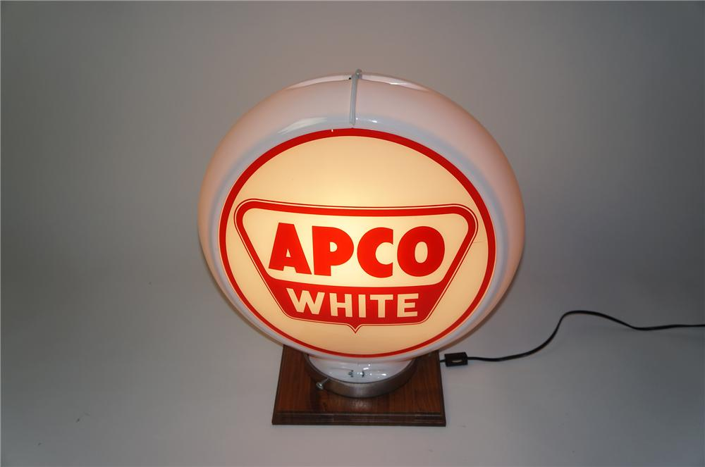 Late 1950s Apco White Gasoline glass faced gas pump globe in a Capcolite body. - Front 3/4 - 154544