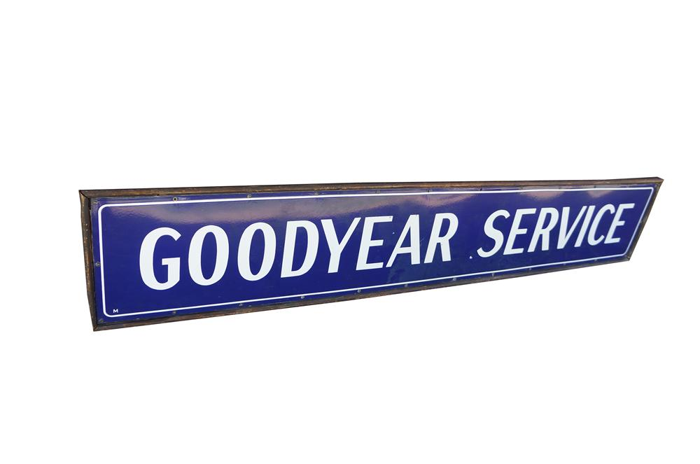 Very rare 1930s Goodyear Service wood framed porcelain garage sign.  Never before seen version. - Front 3/4 - 154547