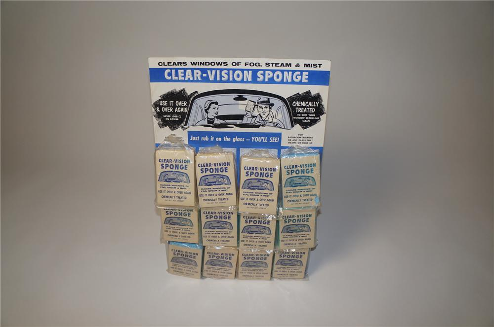 N.O.S. 1950s Clear-Vision Sponge cardboard service station display with graphics. - Front 3/4 - 154551