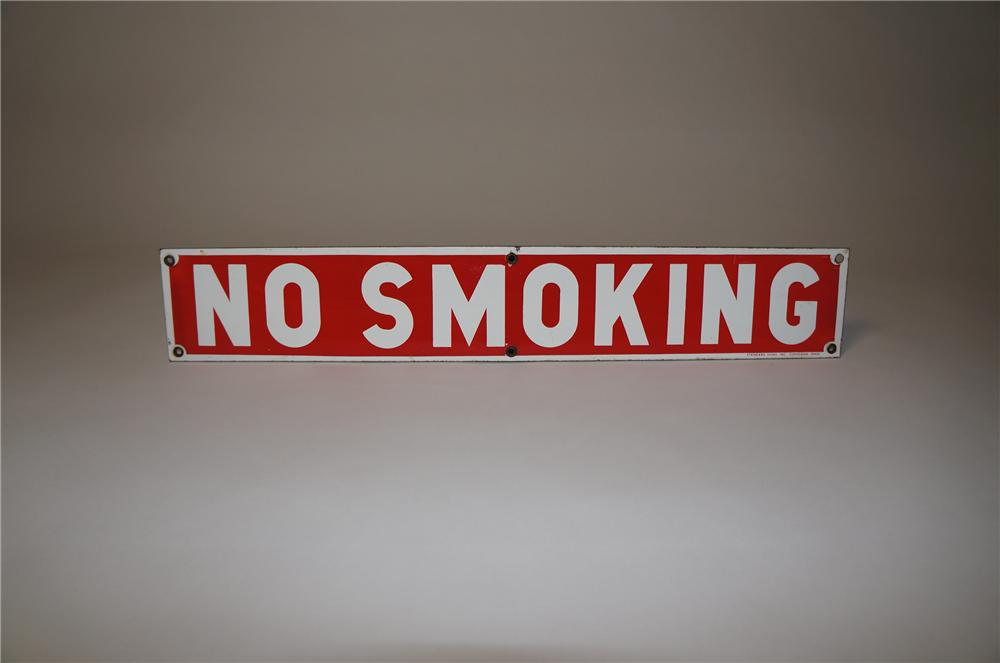 1930s No Smoking porcelain service station fuel island sign.  Appears to have never been used. - Front 3/4 - 154552
