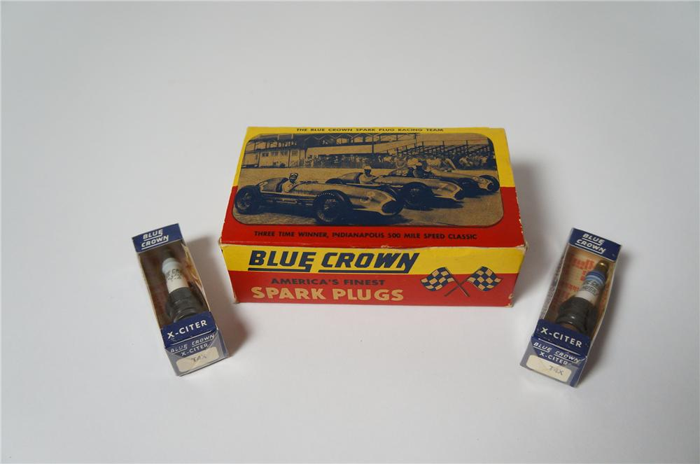 Awesome N.O.S. counter-top display box of Blue Crown Spark Plugs featuring past Indy Champs. - Front 3/4 - 154559