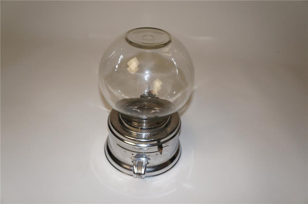Sharp 1950s Ford glass dome one cent gumball machine. - Front 3/4 - 154561