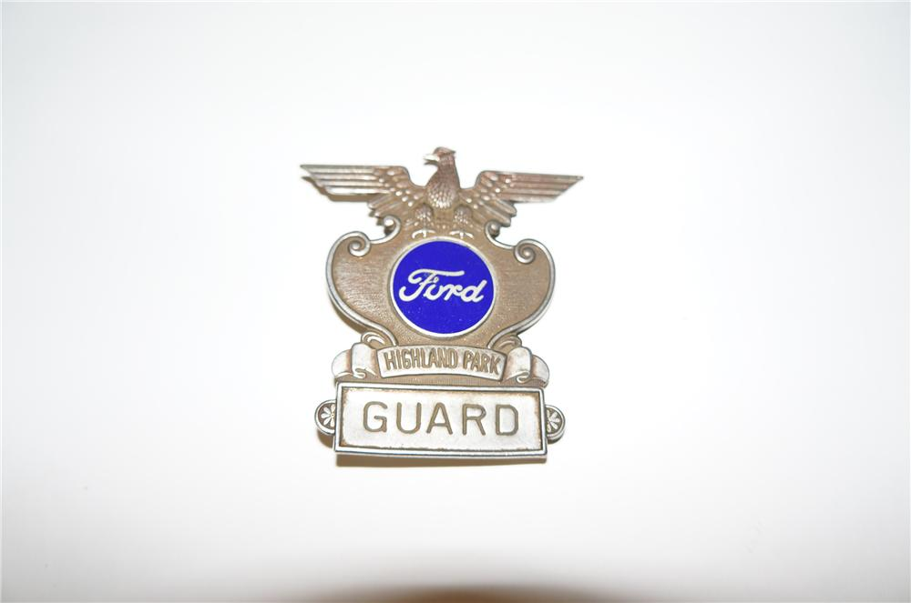 Seldom seen 1930s Ford Automobiles Highland Park Plant Guard badge with enamel Ford logo. - Front 3/4 - 154562