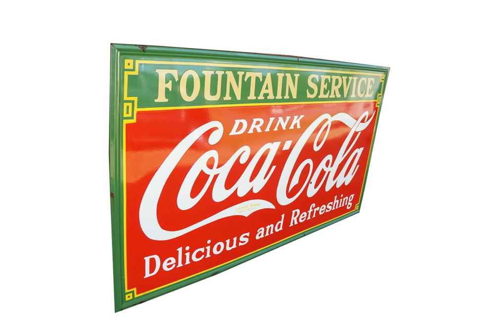 Large 1933 Drink Coca-Cola Delicious and Refreshing Fountain Service single-sided self-framed porcelain soda sign. - Front 3/4 - 154565