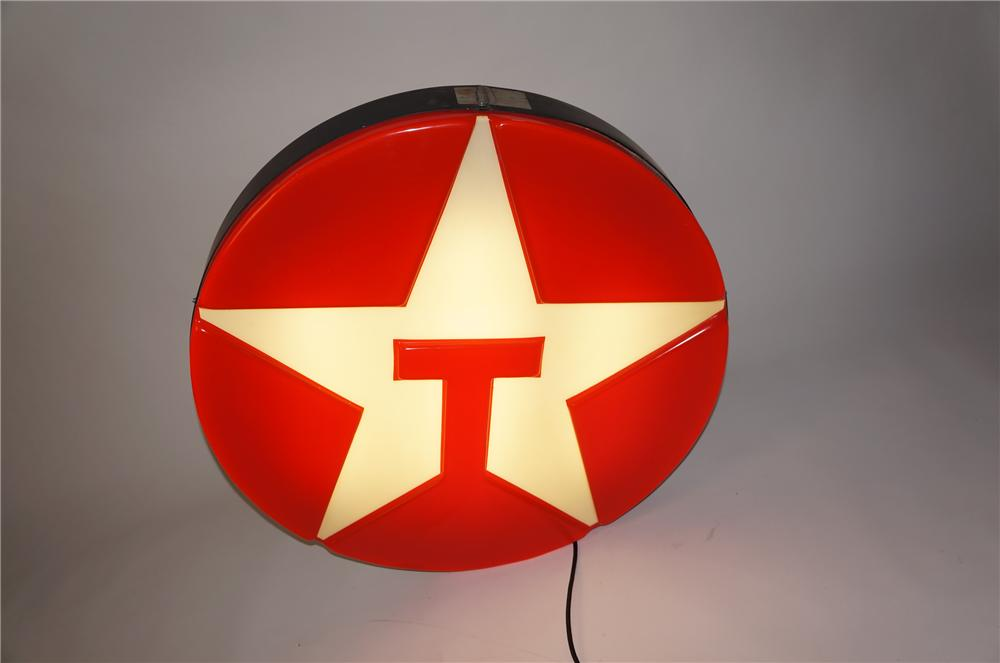Choice 1970s Texaco Oil single-sided embossed light-up service station sign. - Front 3/4 - 154575