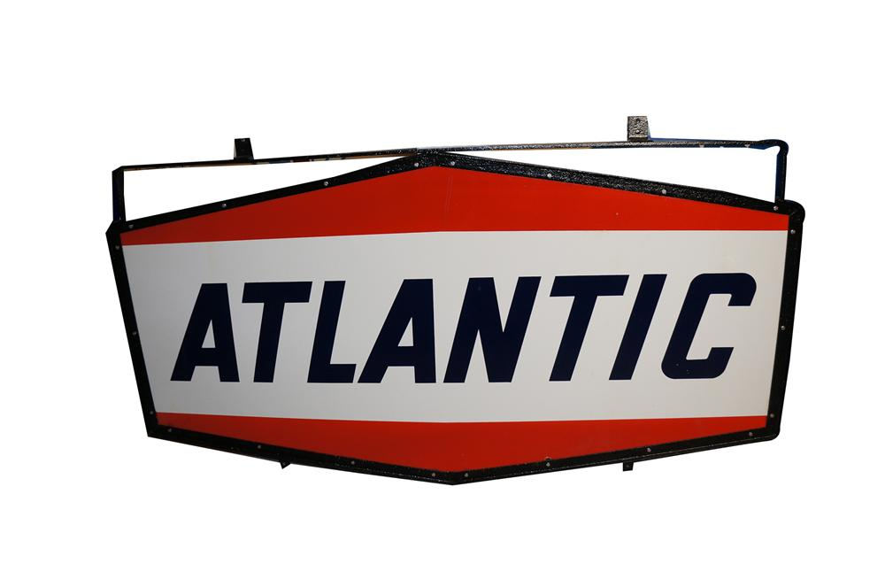 Fabulous 1950s Atlantic Gasoline double-sided porcelain service station sign in the original frame. - Front 3/4 - 154576