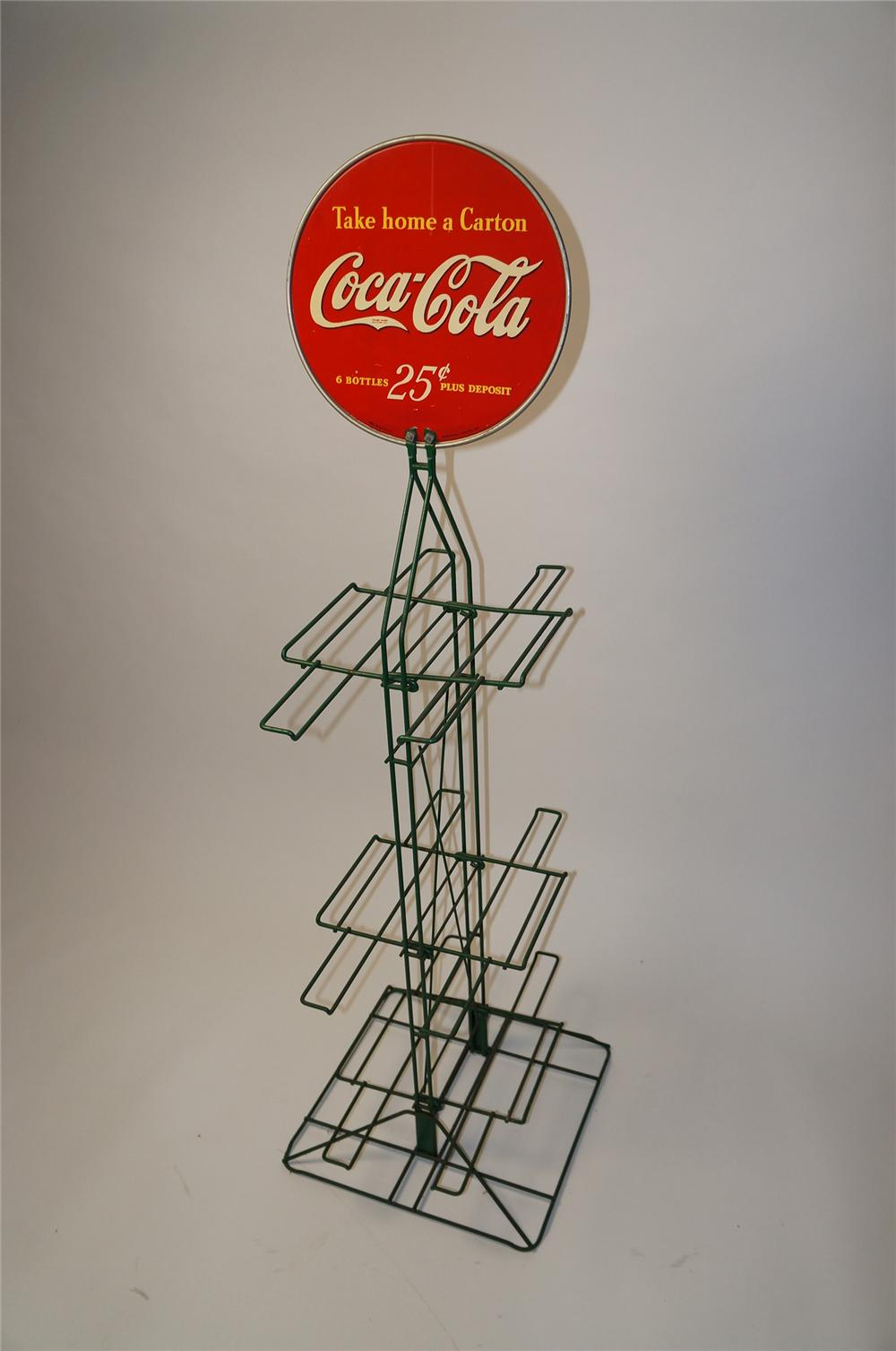 "1940 Coca-Cola ""Take Home A Carton"" general store double-sided metal display rack. - Front 3/4 - 154577"