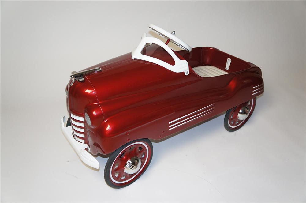 1955 Pontiac pedal car by Steel Craft.  Restored to day one condition with upholstered seat and chrome hood ornament. - Front 3/4 - 154578