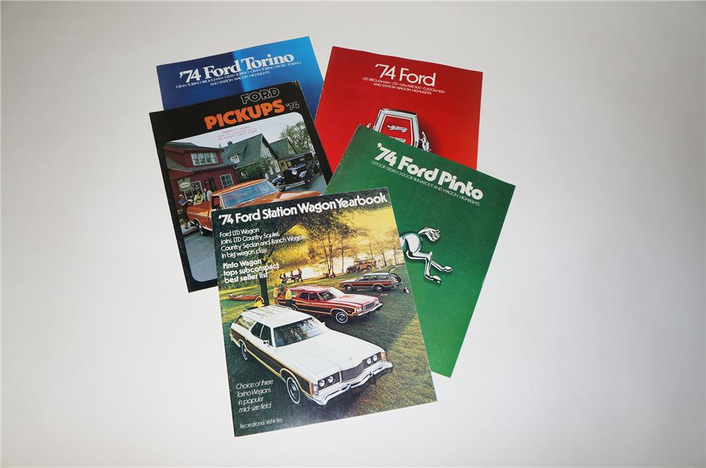 Lot of five 1974 Ford Brochures for Cars and Pick-up Trucks. - Front 3/4 - 154579