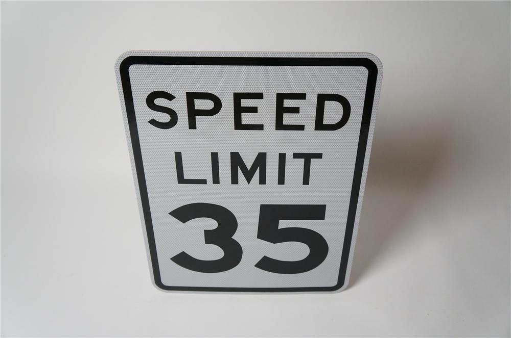"N.O.S. Speed Limit 35 metal highway road sign found unused.  Condition: 9.5+  Size 18""x24"" - Front 3/4 - 154584"