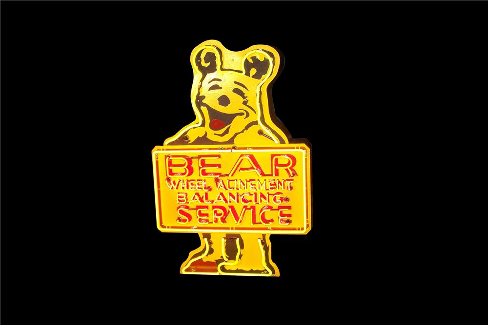 Awesome 1950s restored Bear Wheel Alligement-Blanancing single sided neon automotive garage sign. - Front 3/4 - 154585