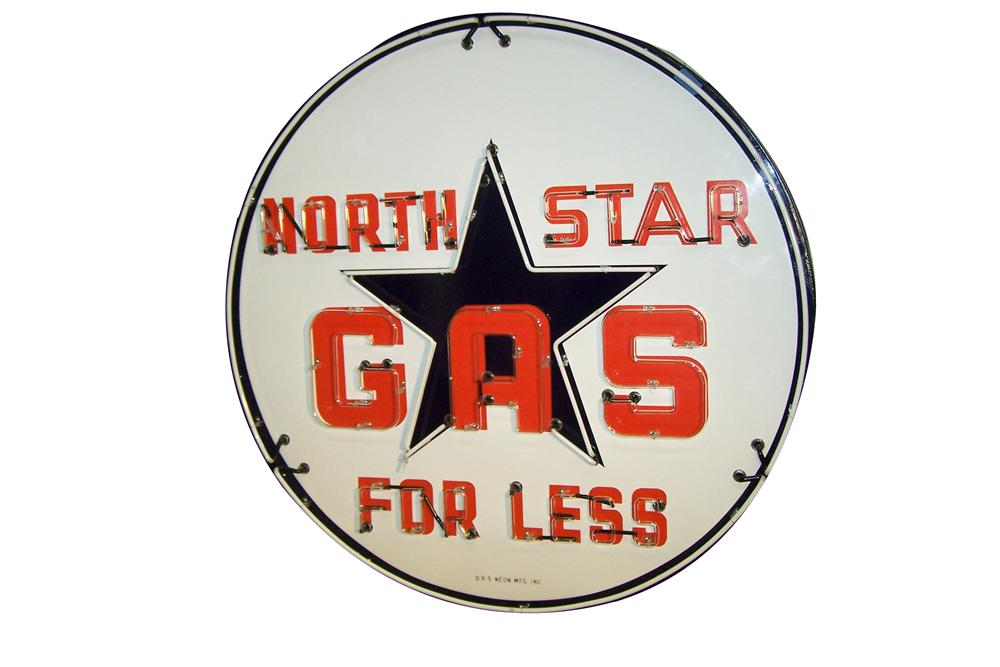 Phenomenal 1940s-50s North Star Gas For Less single-sided neon porcelain service station sign. - Front 3/4 - 154589
