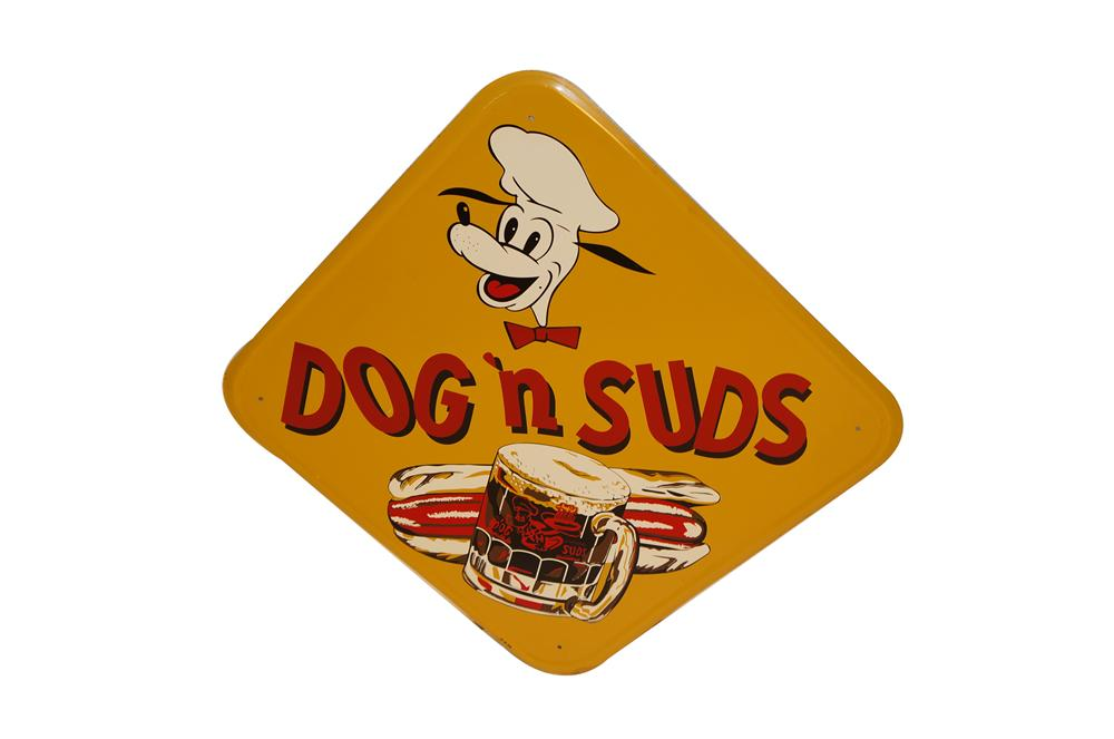 N.O.S. 1956 Dogs N Suds Drive In tin sign with killer graphics. - Front 3/4 - 154592