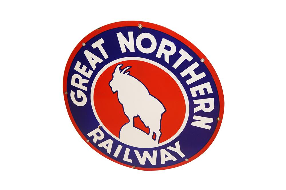 Outstanding 1930s Great Northern Railway single-sided porcelain depot sign with nice colors and graphics. - Front 3/4 - 154595