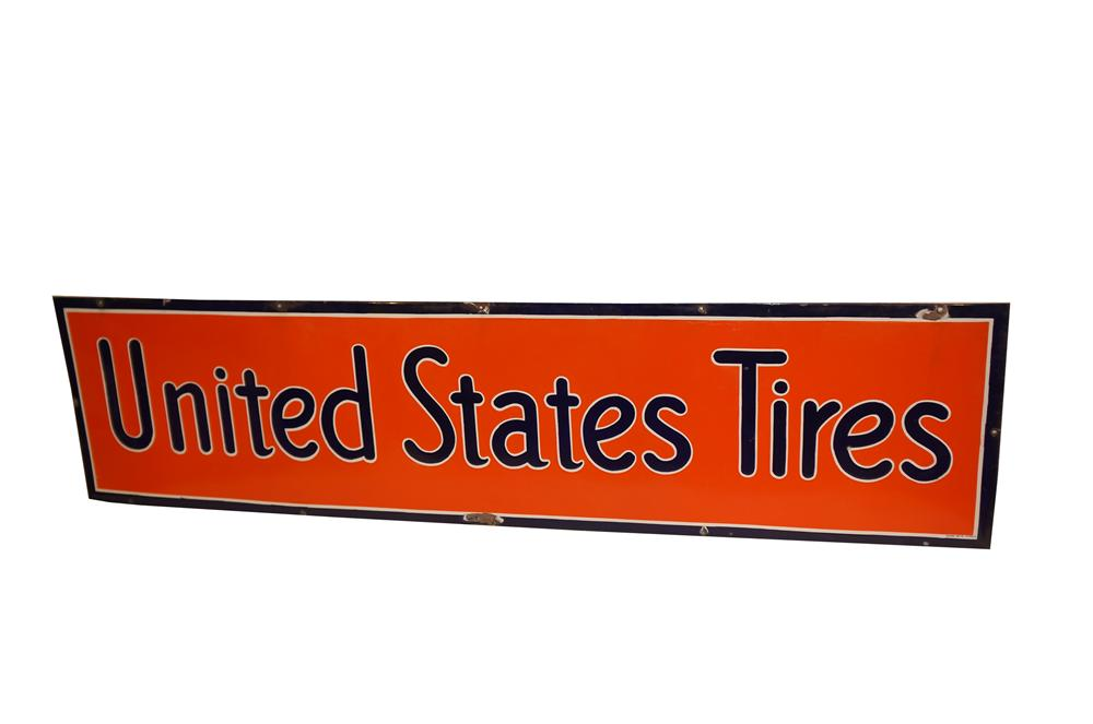 Outstanding 1930s United States Tires horizontal single-sided porcelain automotive garage sign. - Front 3/4 - 154600