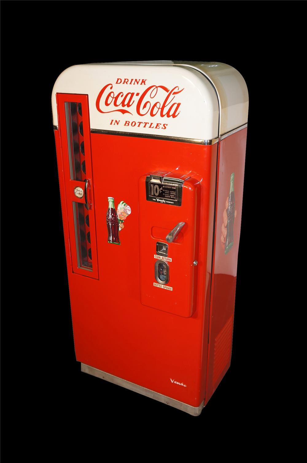 All original 1950s Coca-Cola Vendo 81 soda machine.  Found in amazing condition.  Still runs and cools! - Front 3/4 - 154601