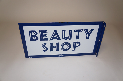 N.O.S. late 1950s-60s Beauty Shop double-sided porcelain flange sign.  Found unused and near perfect! - Front 3/4 - 154603