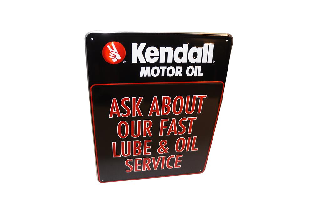 """N.O.S. Kendall Motor Oil """"Ask About Our Fast Lube"""" embossed tin automotive garage sign. - Front 3/4 - 154606"""
