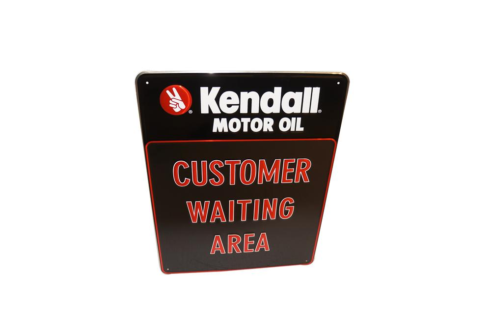 "N.O.S. Kendall Motor Oil ""Customer Waiting Area"" embossed tin automotive garage sign. - Front 3/4 - 154607"