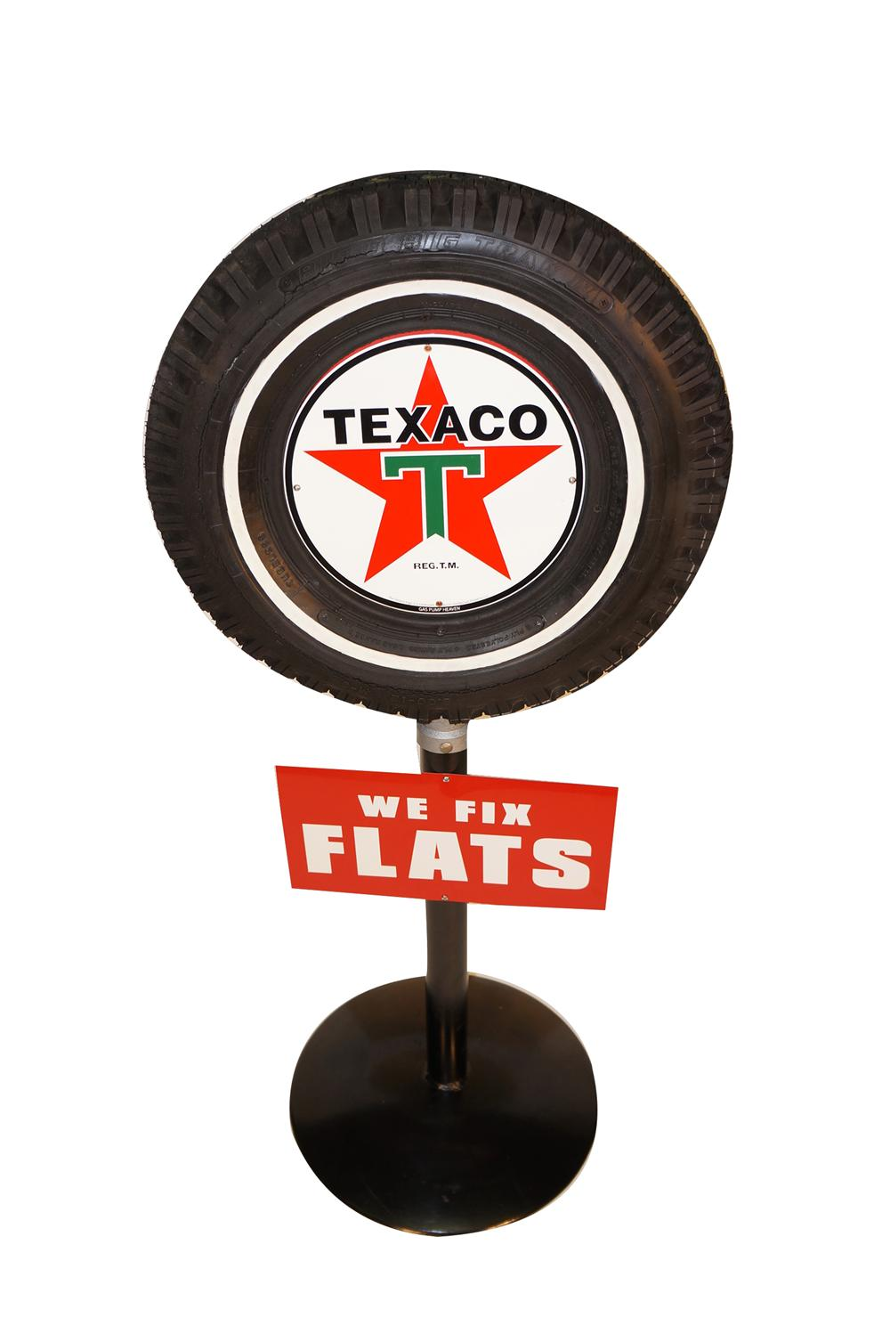 "Nifty restored Texaco Oil ""We Fix Flats"" service station sign with original tire. - Front 3/4 - 154610"