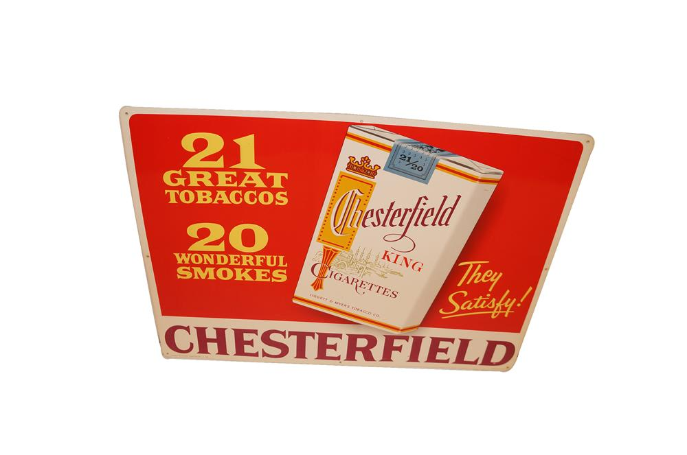 N.O.S. 1950s Chesterfield Cigarettes tin sign with embossed cigarette packet. - Front 3/4 - 154617