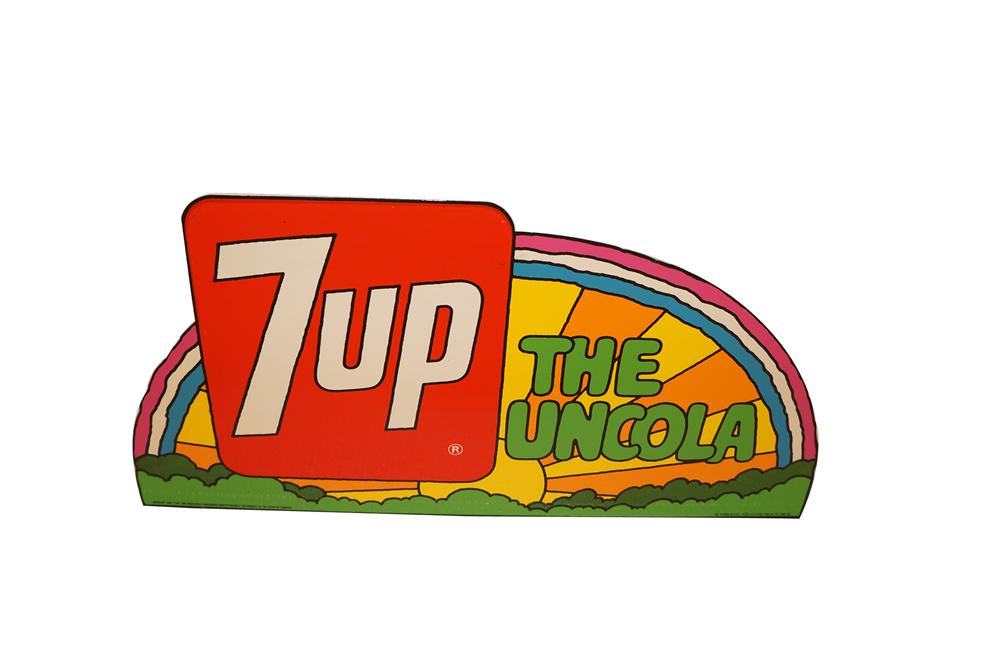 N.O.S. 1960s 7-up Peter Max styled tin sign with flanged bottom. - Front 3/4 - 154618