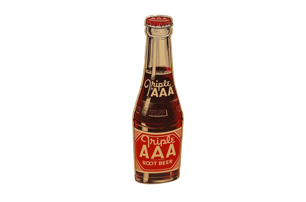 Sharp N.O.S. 1948 Triple A Root Beer die-cut tin bottle shaped sign.  Pulled out of the original shipping crate! - Front 3/4 - 154619