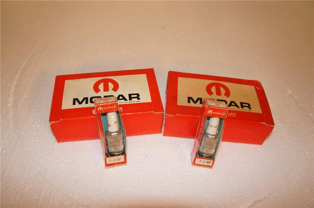 Lot of two 1960s-70s N.O.S. Mopar Spark Plugs display boxes still full of unused plugs. - Front 3/4 - 154620