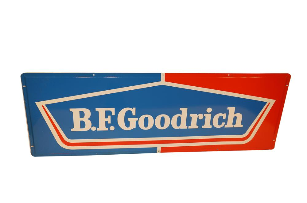 N.O.S. B.F. Goodrich Tires horizontal tin garage sign found in the original shipping paper! - Front 3/4 - 154621