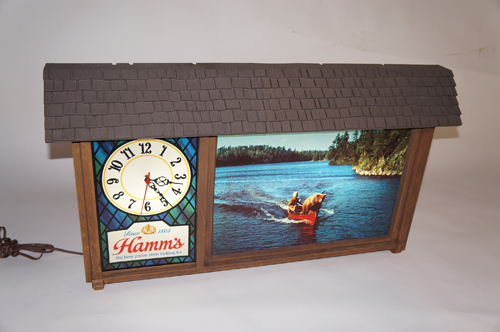 Uncommon 1960s Hamms Beer chalet style light-up tavern sign with clock. - Front 3/4 - 154622
