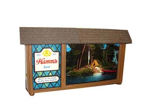 Highly desirable vintage Hamms Beer light-up Scene-o-rama tavern sign with rotating outdoor scene. - Front 3/4 - 154624