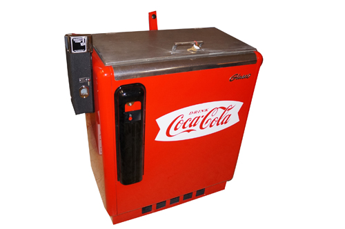 1950s Coca-Cola Ideal model#55 coin-operated service station soda machine with slider mechanism.  Cools and works. - Front 3/4 - 154625